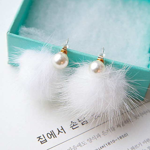 1 Pair Fashion Women Stud Earrings High Quality Plush Ball Pearl After Hanging Type OL Earring Newest Jewelry Elegant Accessorie