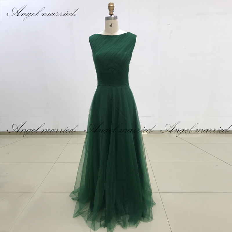 Ange marié Stock robe de soirée cleap tulle robe de bal vestidos elegantes vert long femmes robe de soirée formelle vestido de festa
