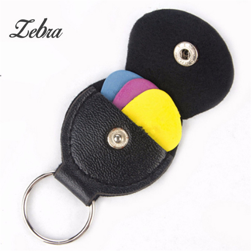 Zebra Leather & Metal Black Electric Guitar Pick Holder Plectrum Case Bag Black Color Guitar Parts Accessories Accessory