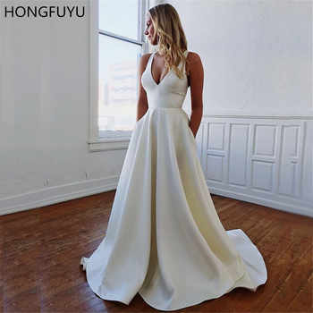HONGFUYU A-line Satin Prom Party Dresses with Pockets V Neck vestido de formatura Formal Gowns Evening Dress Open Bowknot Back - DISCOUNT ITEM  36% OFF All Category