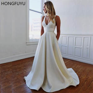 HONGFUYU A-line Satin Prom Party Dresses with Pockets V Neck vestido de formatura Formal Gowns Evening Dress Open Bowknot Back