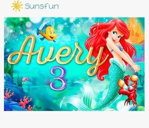 Image 4 - Sunsfun 7x5FT خلفية صورة مخصصة للاستوديو خلفية من الفينيل للأميرة الصغيرة حورية البحر والصخور والشعاب المرجانية
