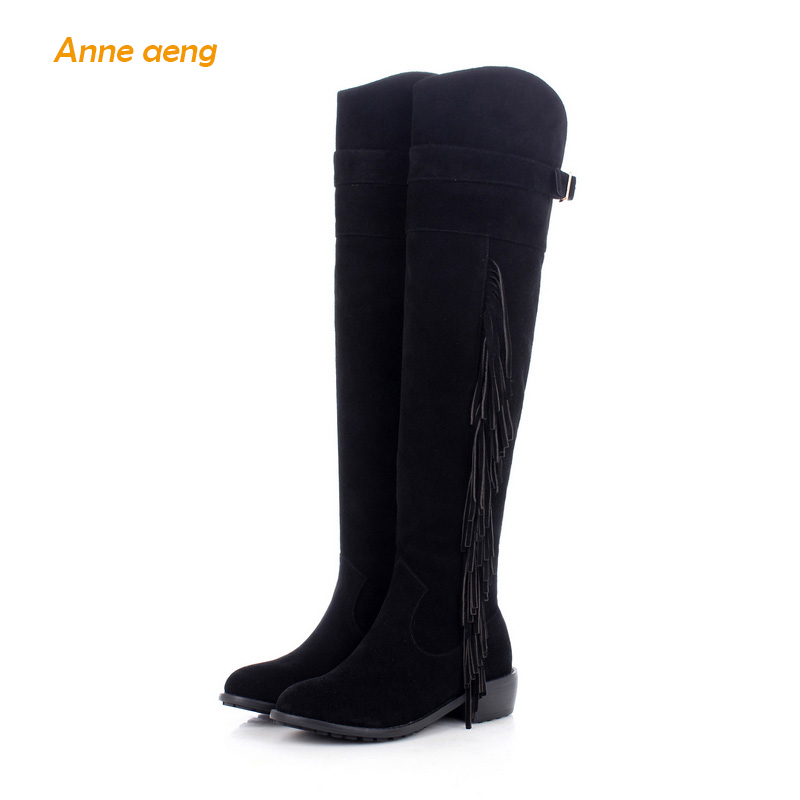 Anne Aeng women's shoes Warm winter boots Knee-High Free Shipping100%Genuine Classic Waxing Leather Fringe Zip Full Grain Nubuck girls and ladies favorite white roller skates with full grain genuine leather dual lane roller skate shoes for adult skating