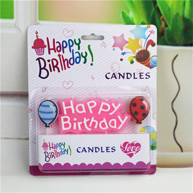 1 Set NEW Big Balloon Letters Birthday Candles Lovely Happy Party DIY Decor For Kids Children