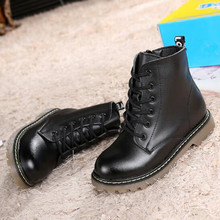 British style Genuine leather Ankle boots Autumn Children Martin boots Boys Girls Lace-Up Winter Kids Snow boots 041
