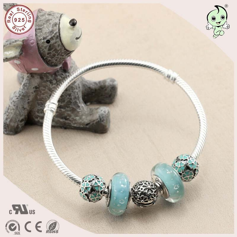 DIY Delicate Light Green Spring Design Murano beads Charm and Enamel Cherry Charm S925 Sterling Silver bangle delicate turquoise beads spiral charm anklet for women
