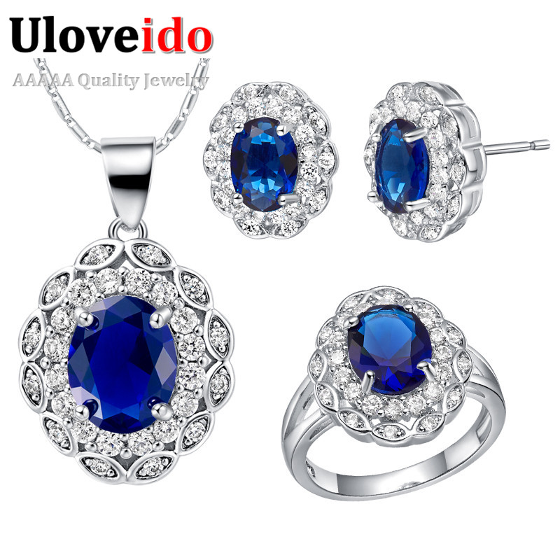 Uloveido Jewelry-Sets Pendant Wedding-Necklace Crystal Silver-Color Purple Pink Dress