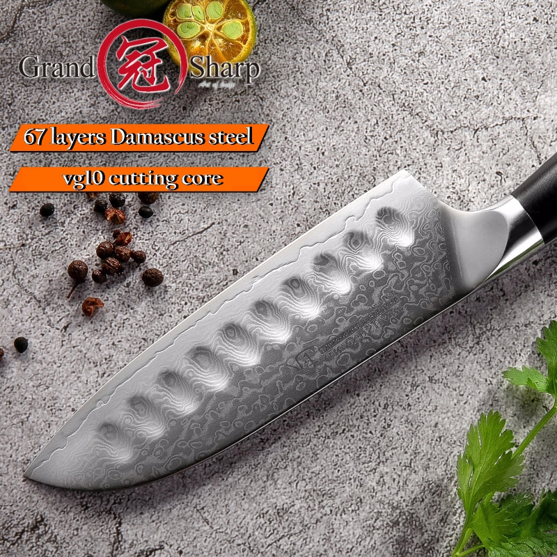 Image 5 - 5 Inch Santoku Knife VG10 Japanese Damascus Stainless Steel 67  Layers Japanese Damascus Kitchen Knives Professional Chefs  ToolsKitchen Knives