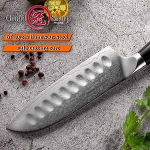 Image 5 - 5 インチ三徳ナイフ VG10 日本ダマスカスステンレス鋼 67 層日本人ダマスカス包丁プロのシェフのツール