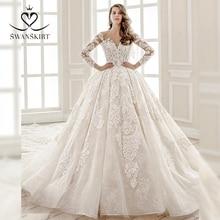 Luxury Beaded Princess Wedding Dress Swanskirt SZ01 Long Sleeve Ball Gown Appliques Lace Bridal Gown Illusion Vestido de novia