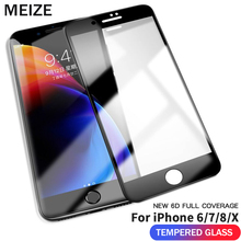 MEIZE 9H NEW 6D  Tempered Glass For iPhone 8 Plus screen Protection X Protector 6s 7 glass
