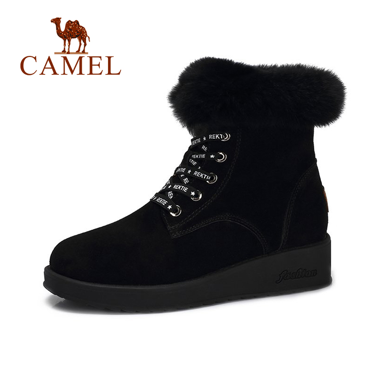 CAMEL 2018 New Furry Boots Winter Ankle Flat Snow Boot New Fashion Cool Letters Heel Keep Warm Plus Shoes For Girls цена