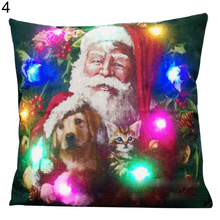 Фотография Colorful Light Up Christmas Santa Claus Pillowcase Cushion Cover Home Decoration