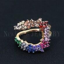 Newranos נשים רב שכבתי טבעת גודל 6 7 רב צבע CZ טבעת צבעוני מעוקב זירקונים קשת טבעת fr נשים המפלגה תכשיטים RWX001382