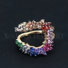 Newranos Women Multilayer Ring Size 6 7 Multi Color CZ Ring Colorful Cubic Zircons Rainbow Ring fr Women Party Jewelry RWX001382