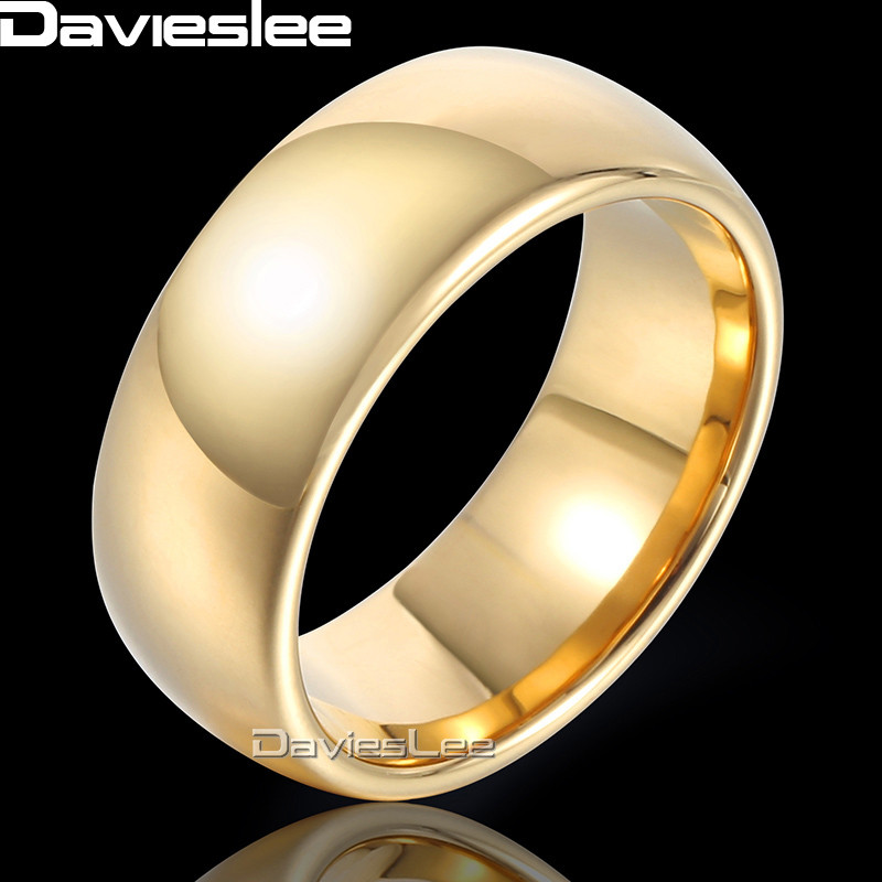 Davieslee Polished Band Ring Wedding Engagement Tungsten Carbide Rose Yellow Gold-color  ...