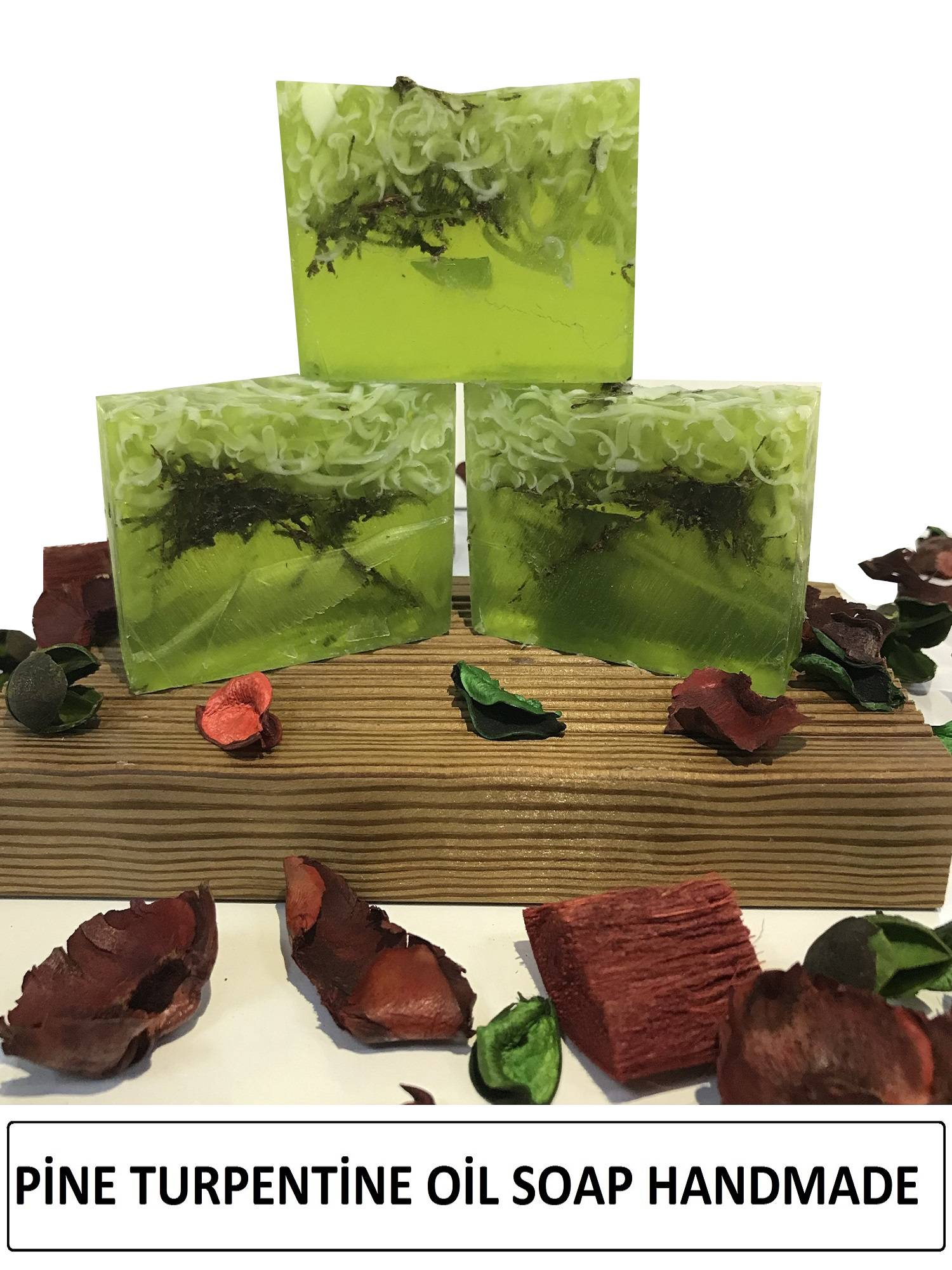 Herbal Handmade Soap 4 Pcs Pine Turpentine Oil Anti Acne Relaxing Moisturizer Face And Body Vitamines Soaps