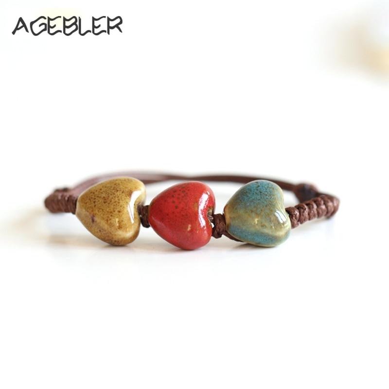 High Quality Fashion Bracelets for Women love Heart Shape Jewelry Rope Chain Handmade Ceramic Bracelet New