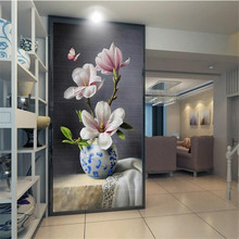 New Chinese painting blue and white porcelain magnolia butterfly entrance wall professional custom wallpaper mural цена
