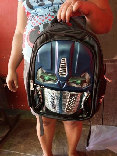 JXSLTC New Kids Waterproof Orthopedic School Bags Cartoon Boys Schoolbag Glowing Children Elementary School Backpack For Boys photo review