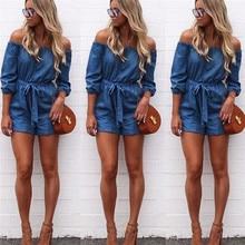 Fashion summer jumpsuit woman 2019 Solid Strapless Short Jeans Trousers Casual Jumpsuit Playsuits pantaloni siamesi A02