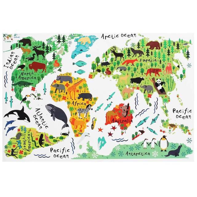 60*90cm PVC Colorful Animal Travel World Map Kids Room Decor Wall ...