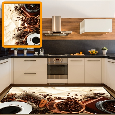 Else Turkish Coffee Pot Coffee Beans 3d Print Non Slip Microfiber Kitchen Modern Decorative Washable Area Rug Mat