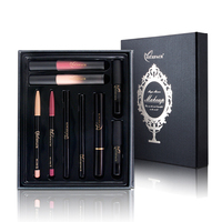 9Pcs Lady Makeup Kits Mascara Eyeliner Eyebrow Pencil Lip Liner Liquid Lipstick
