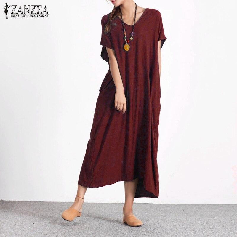 ZANZEA Women 2018 Summer Casual Loose Long Maxi Dress Sexy V Neck Short  Sleeve Back Buttons Split Hem Cotton Dresses Plus Size 030d0dcf5229