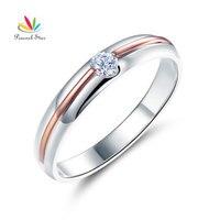 Peacock Star Women 14K White Gold Rose Gold 2 Color Wedding Band Women Ring Diamond