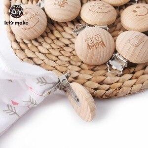 Image 3 - בואו לעשות מוצץ קליפ 50pc עגול עץ לחרוט להתאמה אישית התאמה אישית של תינוק בובת עץ קליפ ניטראלי מתנה קסמי חרוזים