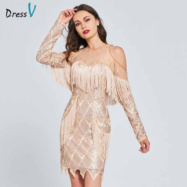 Dressv beading lace cocktail dress sequins long sleeves tassel wedding  party evening formal dress coctail dresses cutomade a44f8b8284f7