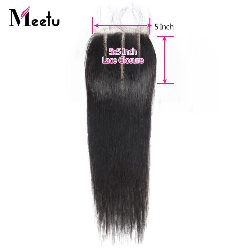Meetu Straight Closure 100% Human Hair Closure Indian Hair Closure 5X5 Inch Non Remy Natural Hairline Lace Closure Baby Hair