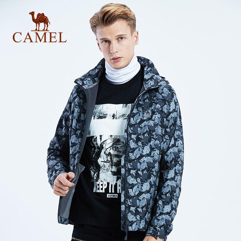 CAMEL New Men Fleece Softshell Windproof Hiking Jacket Outdoor Sports Coats Hiking Camping Trekking Male Jackets