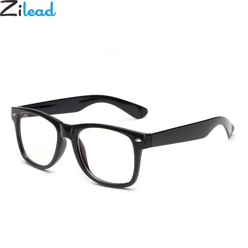 Zilead Big Frame Square Women&Men Blue Light Plain Glasses Retro Radiation Computer Glasses Myopic Lens Frame Eyeglasse