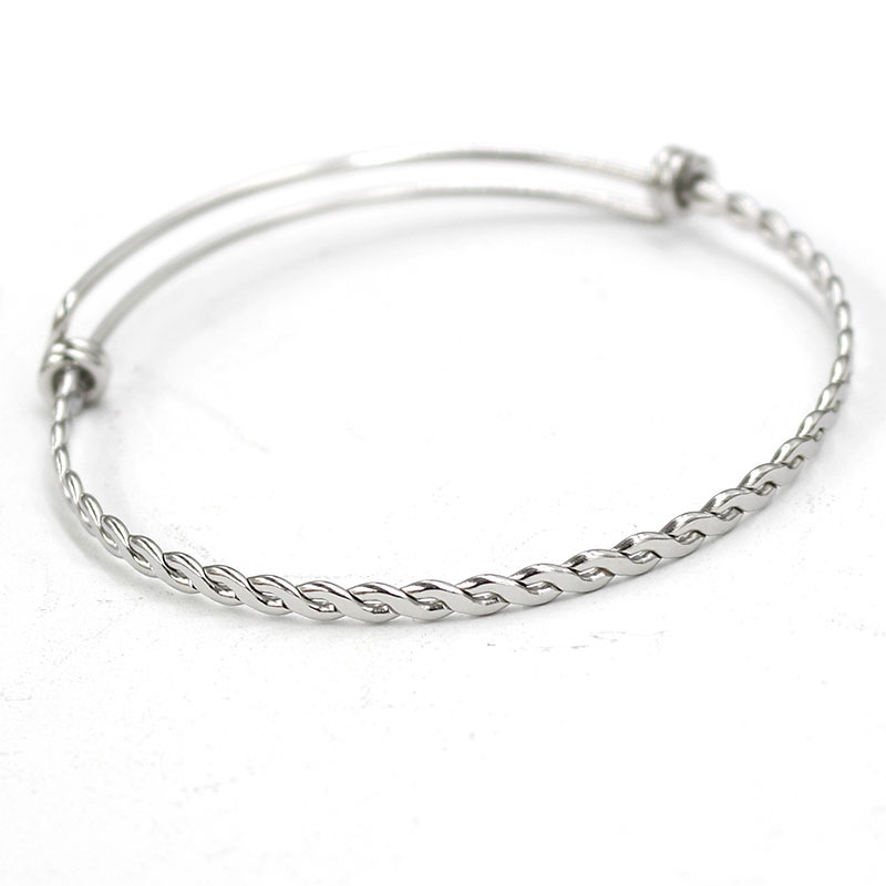 1pcs/lot Twisted Stainless Steel Adjustable Bangle