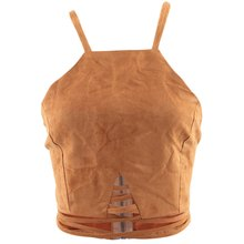 Gamiss Summer Vintage Brown Faux Leather Suede Cropped Tank Top Sexy Lace Up Camis Women Tops Slim Cami Party Crop Top Fall Vest