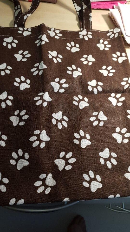 YILE Handmade Cotton Linen Eco Shopping Tote Shoulder Bag Print Paws Brown Base 1759-1 photo review