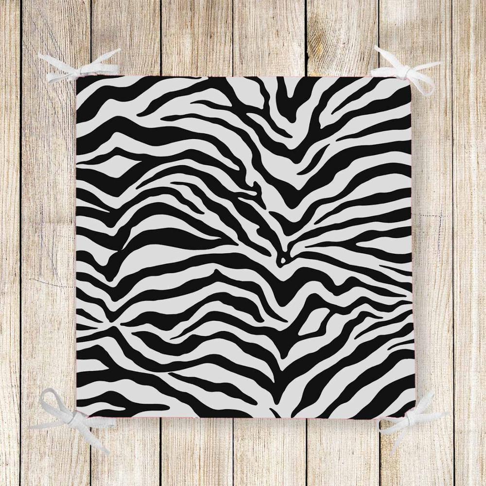 Else Black White Zebra Fur 3d Print Chair Pad Seat Cushion Soft Memory Foam Full Lenght Ties Non Slip Washable Zipper