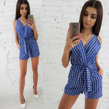 2018 New Summer Fashion Sexy V-neck Sleeveless Beach Jumpsuits