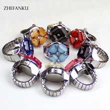 Fashion Crystal Flower Ring Watch Girls Steel Stretchy Quartz Finger Watches Adjustable Snap Ring Watch for Christmas Gifts