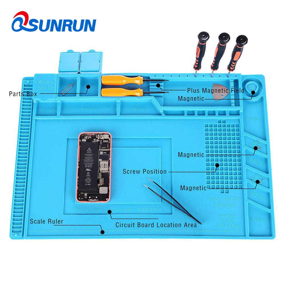 QSUNRUN Мат антистатический высокое Температура мобильный телефон ремонт Рабочий стол с магнитной Запчасти адсорбции теплоизоляция площадку