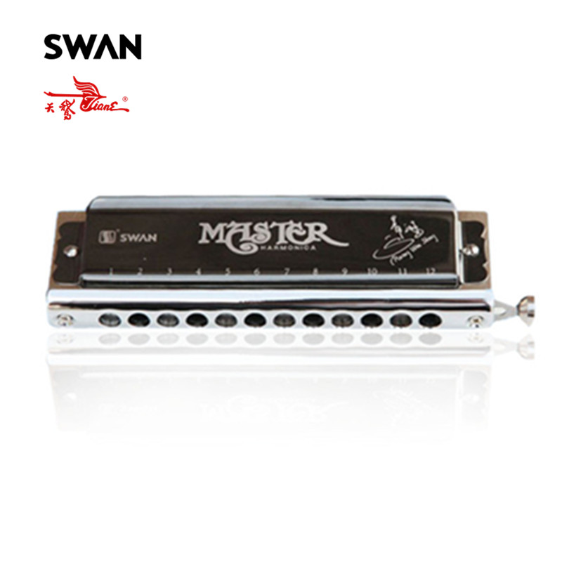 Swan 12 Holes 48 Tones Key of C High-end Chromatic Harmonica Woodwind Musical Instruments Accordions Harmonicas In Plastic Box easttop brass chromatic harmonica 16 hole brass abs comb musical instruments mouth organ chromatic slide harmonica good sound