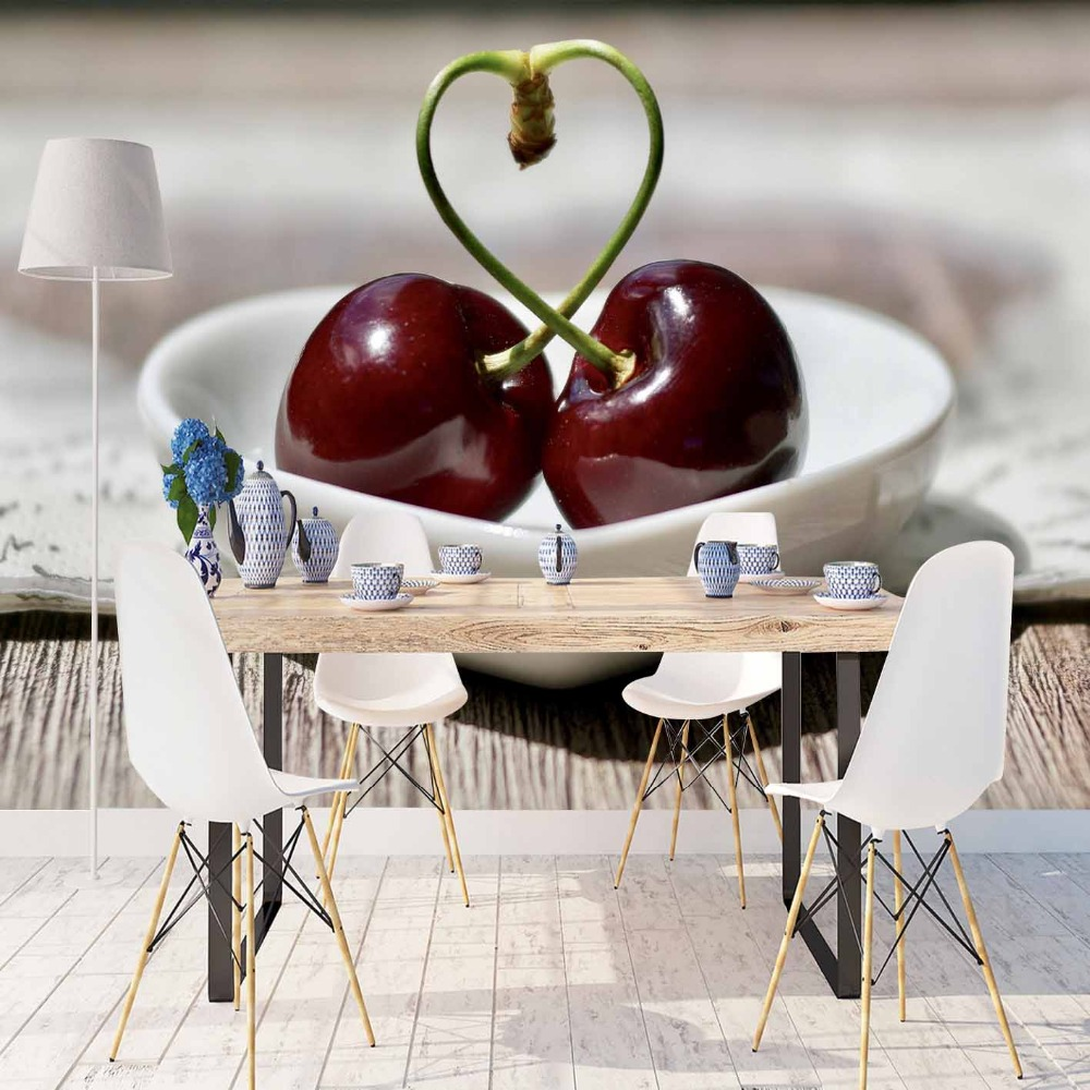 Else Brown Wood Red Cherry Love Heart Plates 3d Print Photo Cleanable Fabric Mural Home Decor Kitchen Background Wallpaper