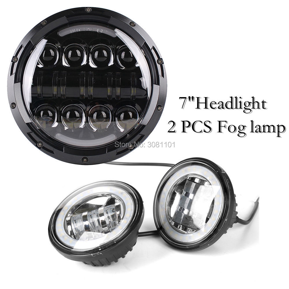 1 PCS 7inch Headlight 80W High Beam Projector +2PCS 4.5 LED Fog lamp with Angel Eyes for 1949 Harley-Davidson Hydra Glide etc. 2pcs purple blue red green led demon eyes for bixenon projector lens hella5 q5 2 5inch and 3 0inch headlight angel devil demon