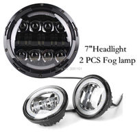 1 PCS 7inch Headlight 80W High Beam 2PCS 4 5 LED Fog Lamp With Angel Eyes