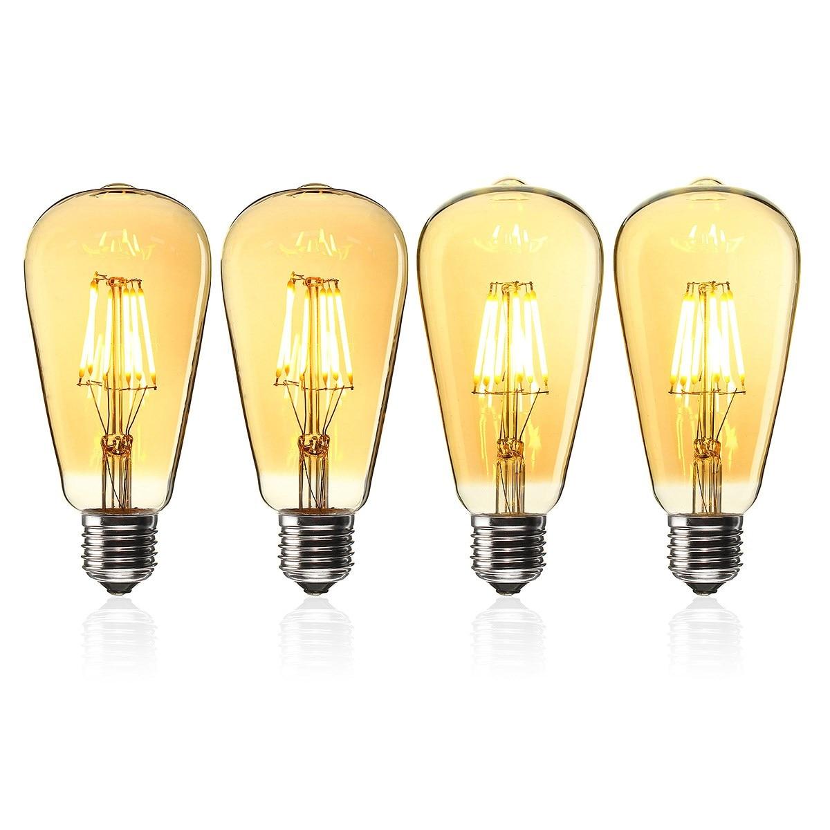 Smuxi E27 St64 6w Golden Cover Dimmable Edison Retro Vintage Filament Cob Led Bulb Light Lamp Ac110/220v Lights & Lighting