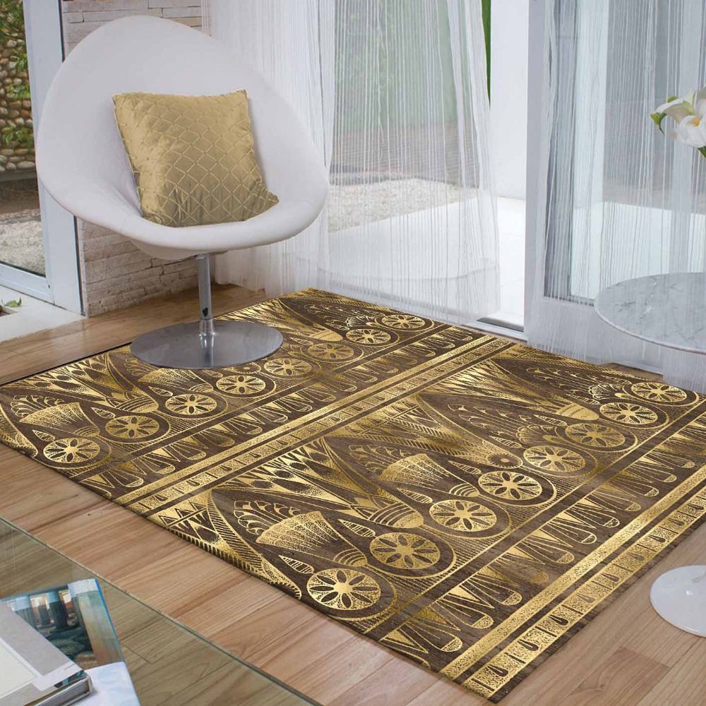 Else Brown Golden Yellow Egypt Geometric Ethnic 3d Print Non Slip Microfiber Living Room Decorative Modern Washable Area Rug Mat