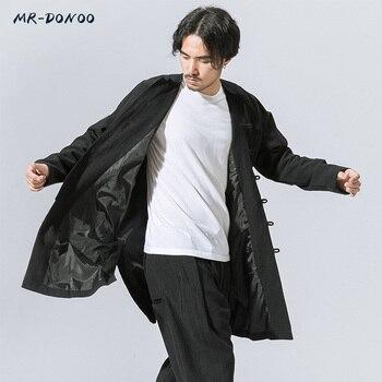 MRDONOO mannen herfst winter Tang pak lange mouw jonge man overjas midden-lange losse grote retro Chinese stijl Han windjack