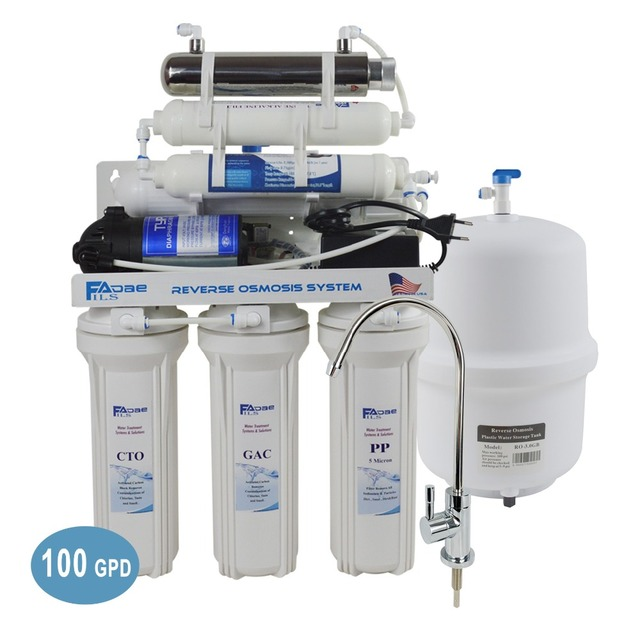 7 Stage Under Sink Reverse Osmosis Drinking Water Filtration System with Alkaline Remineralization Filter & UV 100GPD/220 240V